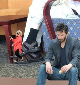 The mandals by themselves were too much to bear. Help me, Keanu.